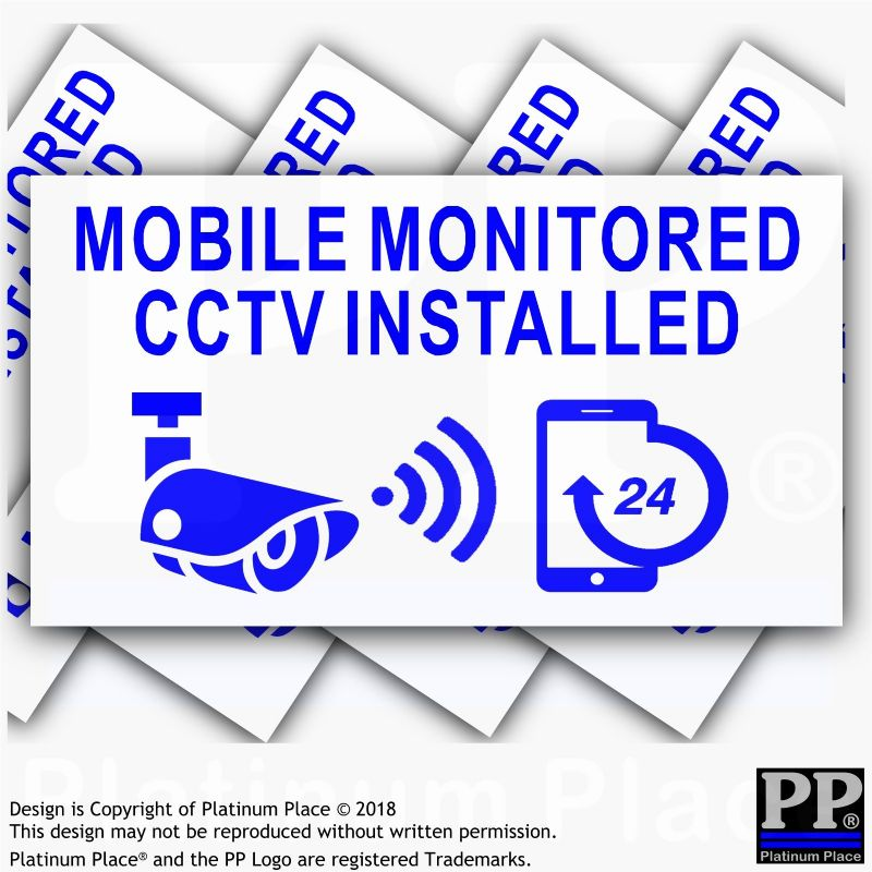 5 x CCTV-Mobile Monitored Installed-24hr Security Phone Warning Camera Sign Stickers